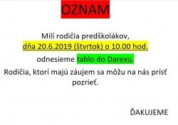Oznam - tablo predškoláci